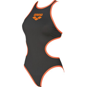 arena One Biglogo One Piece Swimsuit Women deep grey-fluo orange